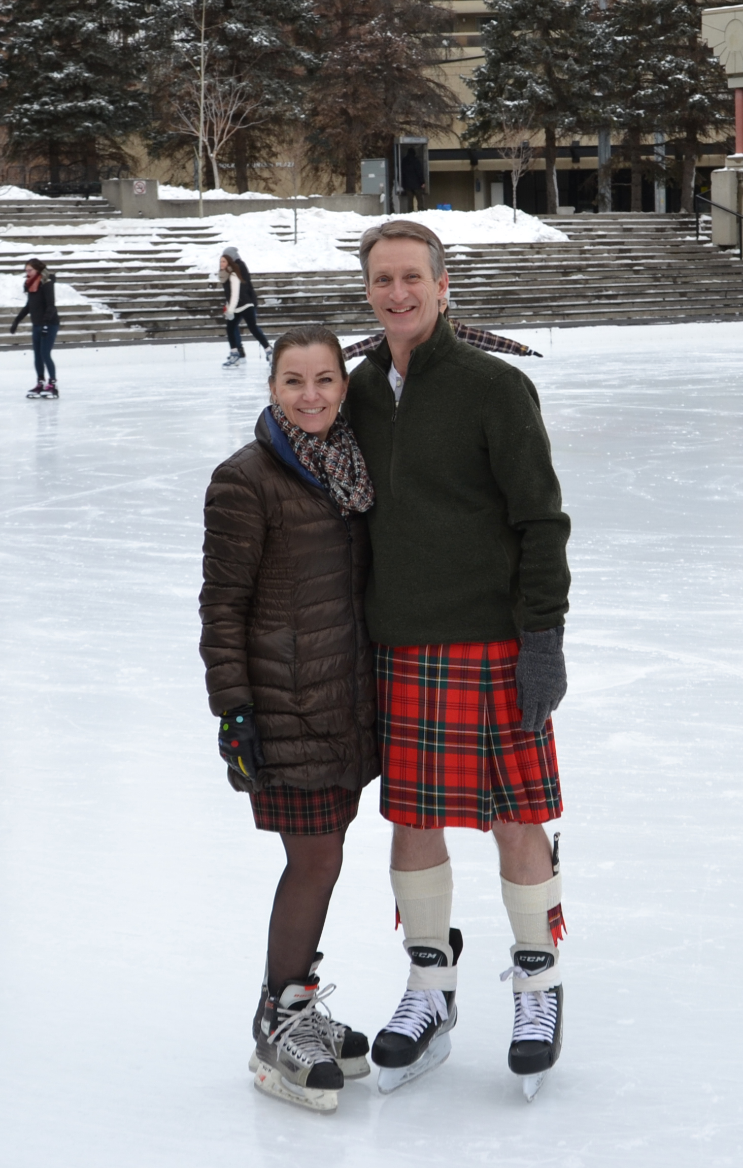 Celebrating Sir John A on Kilt Skate Day