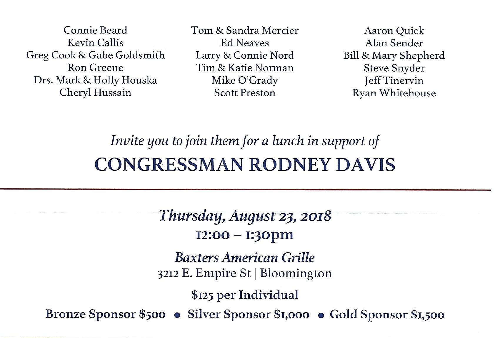 Rodney Davis Fundraiser