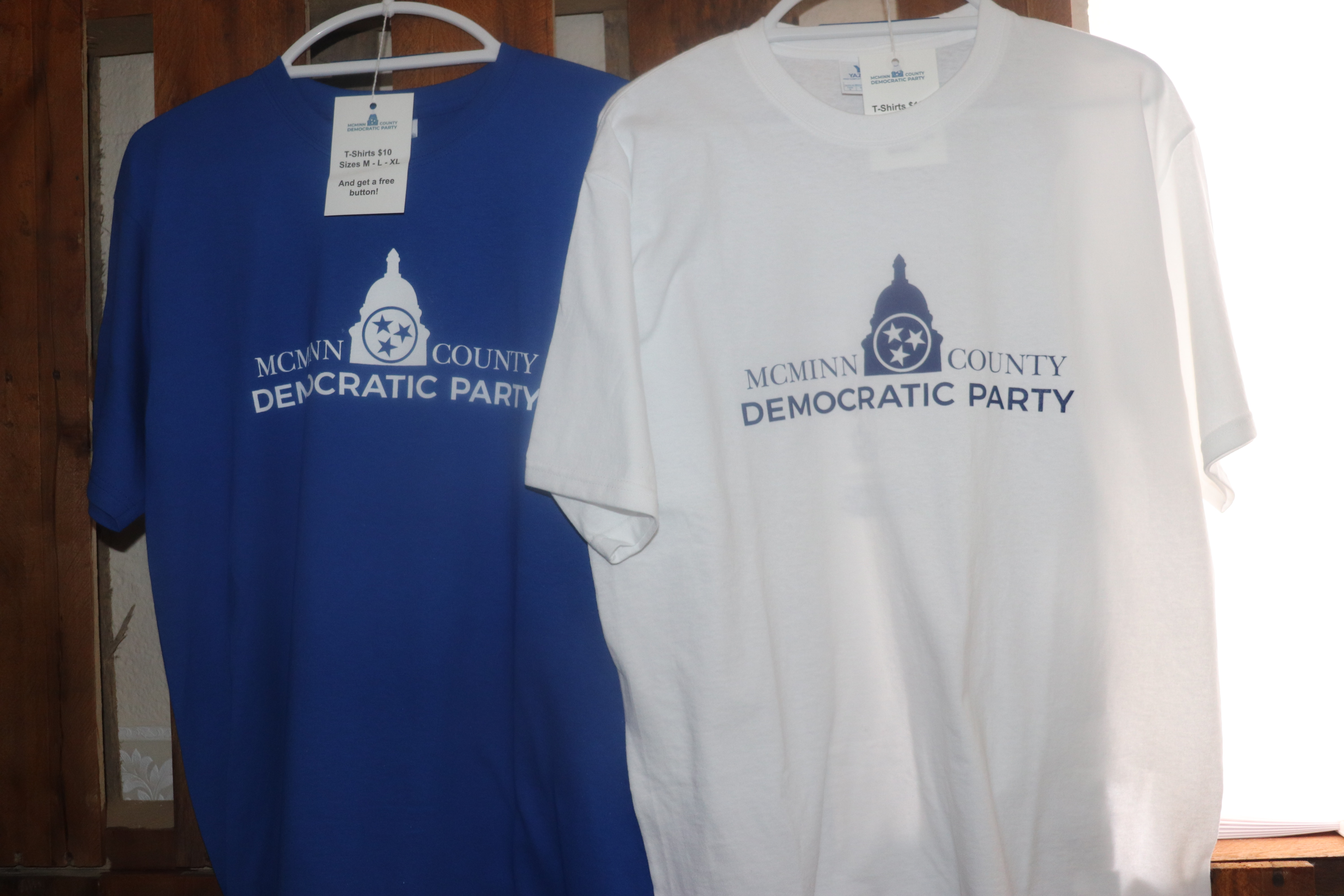 Blue or white t-shirt with McMinn County Democratic Party logo
