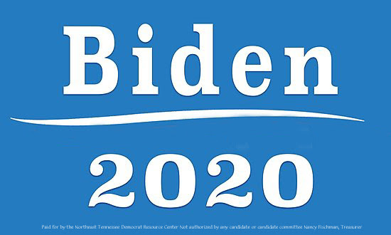 Joe Biden 2020 in white with blue background