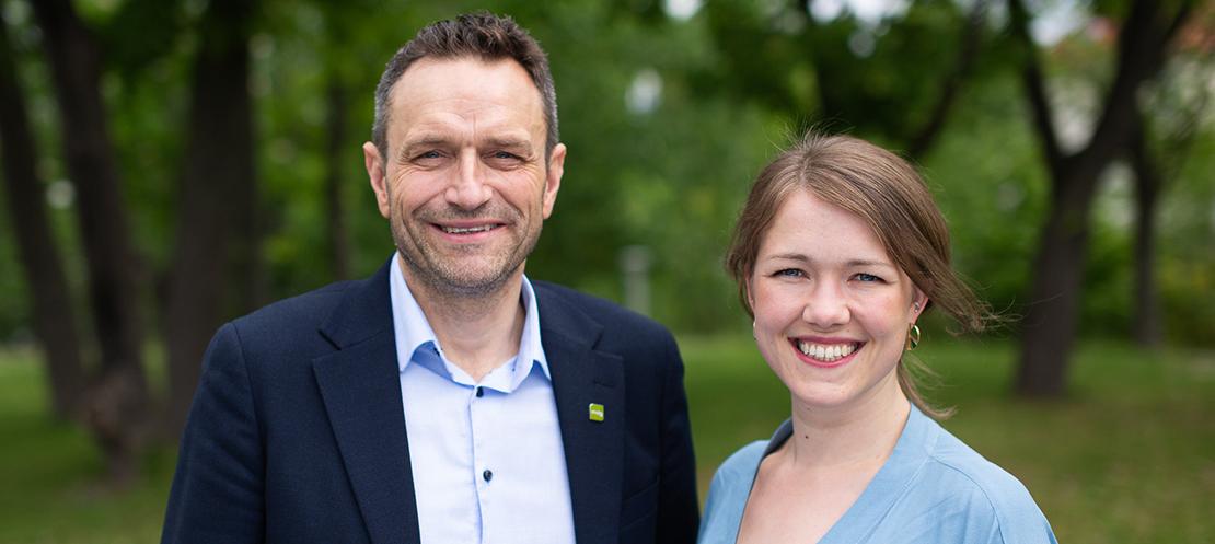 Une Bastholm og Arild Hermstad er De Grønne's talspersoner