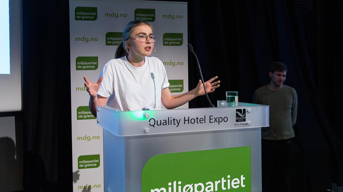Hulda Holtvedt taler på De Grønnes andsmøte 2019