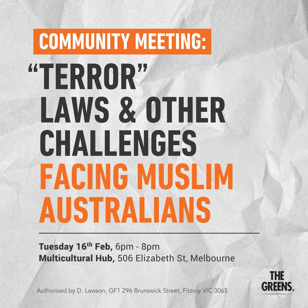 Community Meeting -- Terror Laws & Other Challenges Facing Muslim Australians
