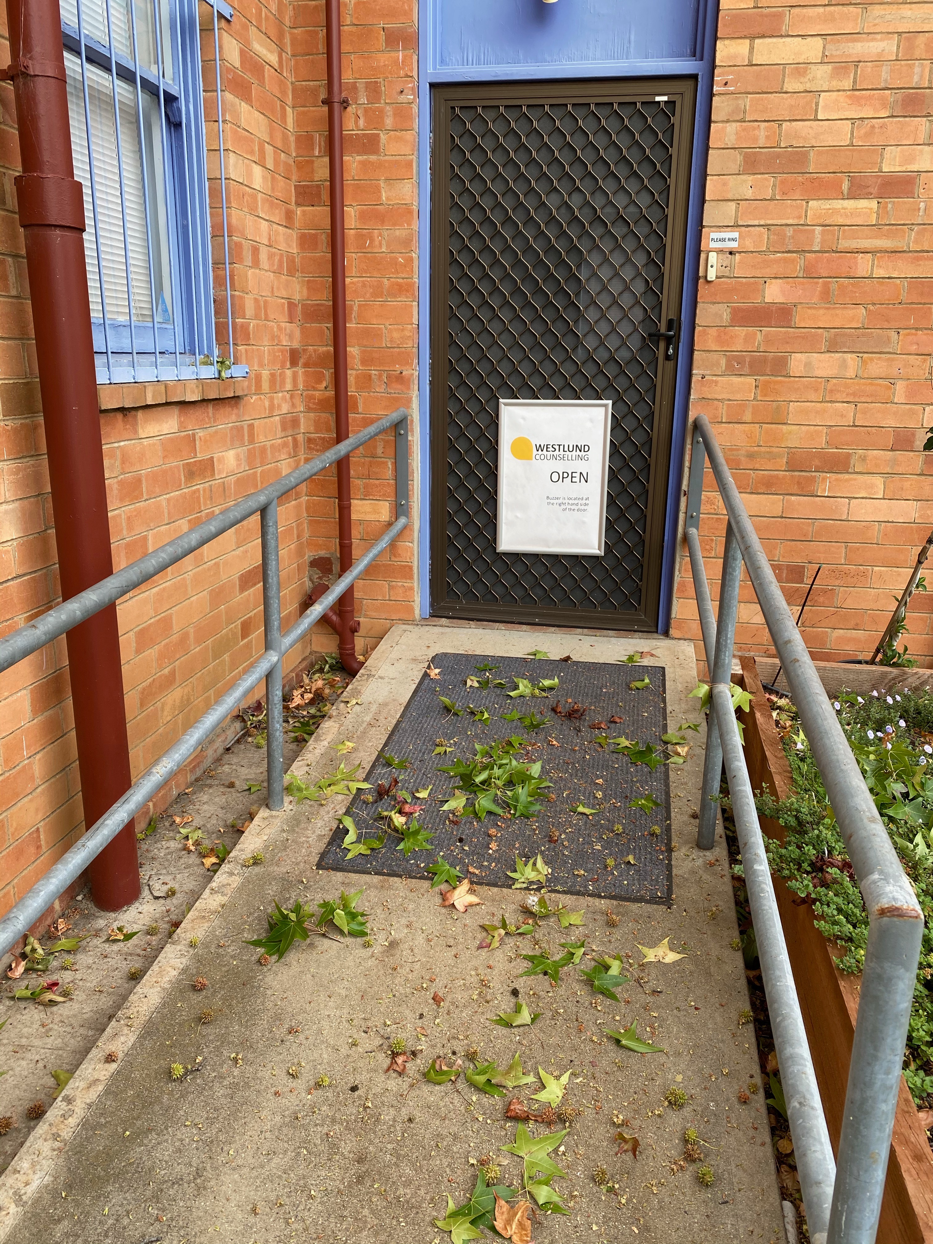 A path with side rails leading up to the back entrance of the Meridian building