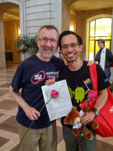 Thom and Jeff with Marriage License