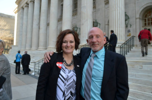 MEUSA's Jolene Mewing with Restore Our Humanity's Mark Lawrence on the steps of the Byron White Courthouse in Denver (10 April 2014).