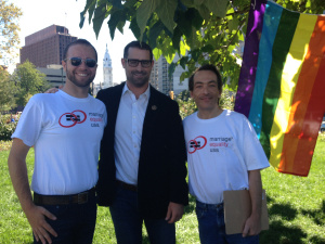 Brian Silva, PA Rep. Brian Sims, Bob Sullivan (MEUSA Philly Local Organizer) at the rally after Rep. Sims spoke of the need for marriage equality in PA