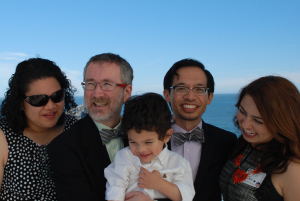 Thom and Jeff with friends at their Cliff House reception. ©2013 Levi Smith Photography