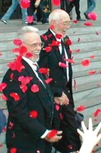 Marvin Burrows and his husband Bill Swenor on their wedding day at San Francisco City Hall.
