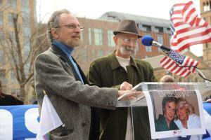 Sabatino (left) and Voorheis speak at United for Marriage \