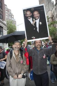 Robert Voorheis (left) and Michael Sabatino (right) march for marriage equality