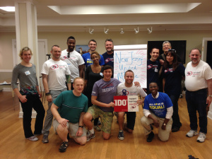 Volunteers and staff from MEUSA pose with New Jersey United for Marriage staff before spending time canvassing