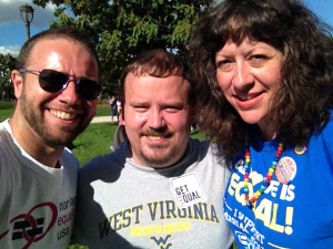 Brian Silva, Robert Sargent (GetEqual) and Janice Rael (Delaware Valley Chapter of Americans United for Separation of Church and State or DVAU)