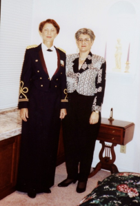 Barb and Pat dressed for Colonel Patsy R. Thompson's military retirement in 1993