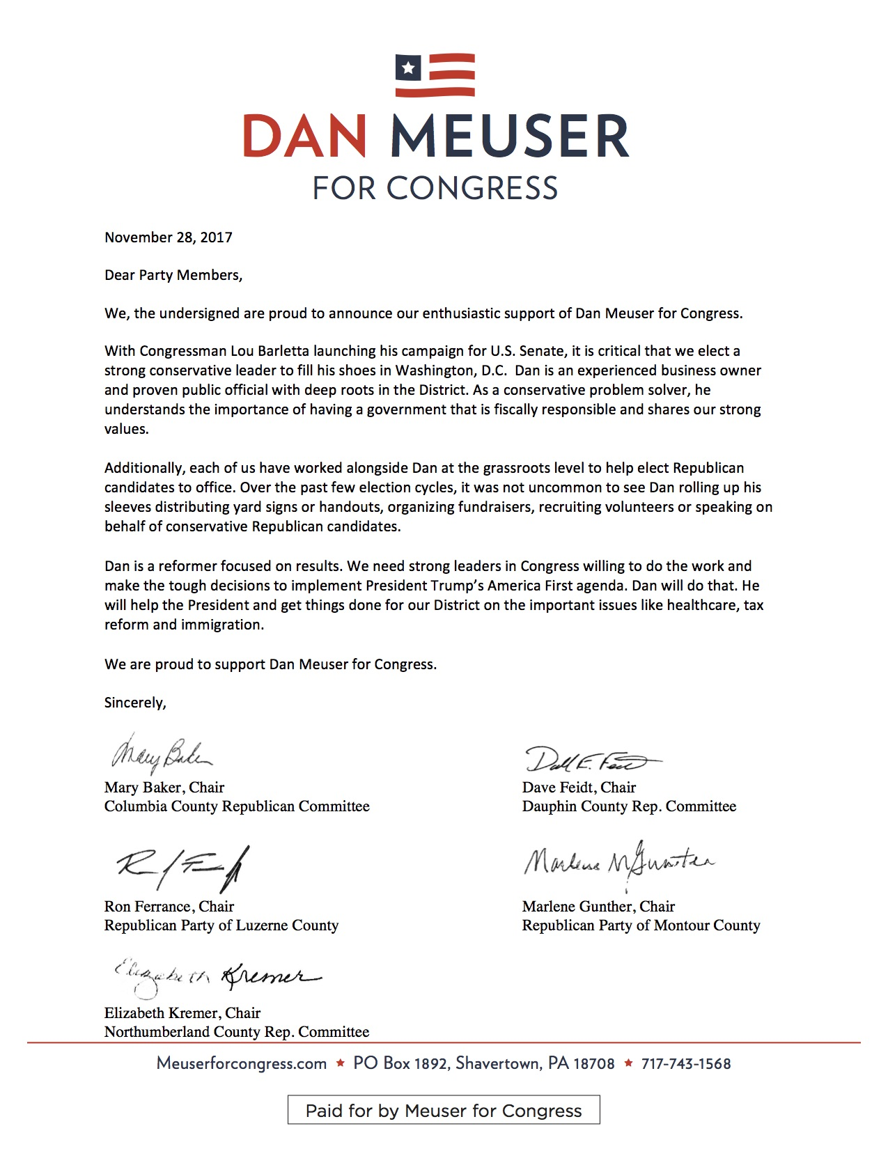 County Chair Endorsement Letter