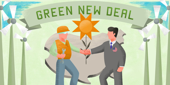 "Two men, drawn in the style of a New Deal mural, shake hands in front of a giant flower that resembles a sun. They are surrounded by wind turbines. In the background is an outline of the continental United States. Across the top is a banner that reads ""Green New Deal."""