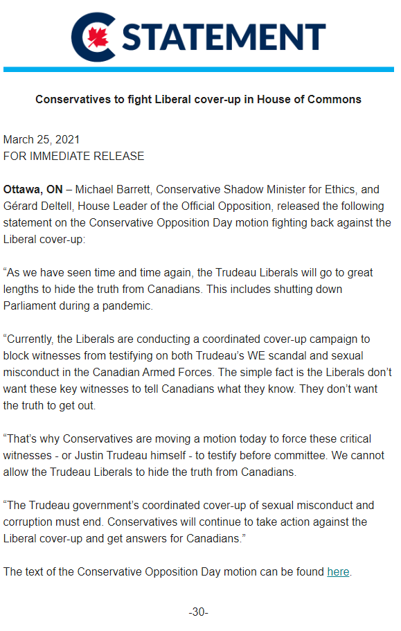 Conservatives to fight Liberal cover-up in House of Commons