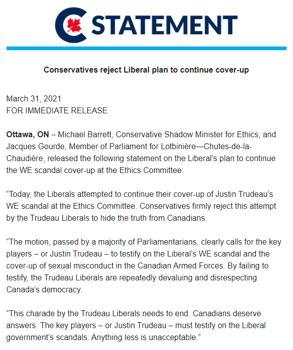 Conservatives reject Liberal plan to continue cover-up