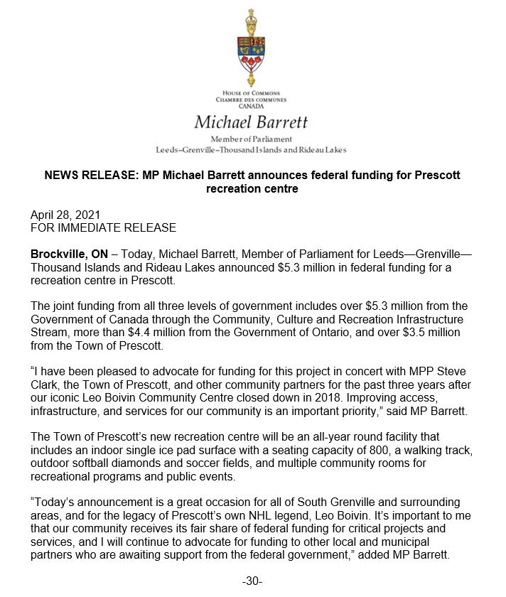 MP Michael Barrett announces federal funding for Prescott recreation centre