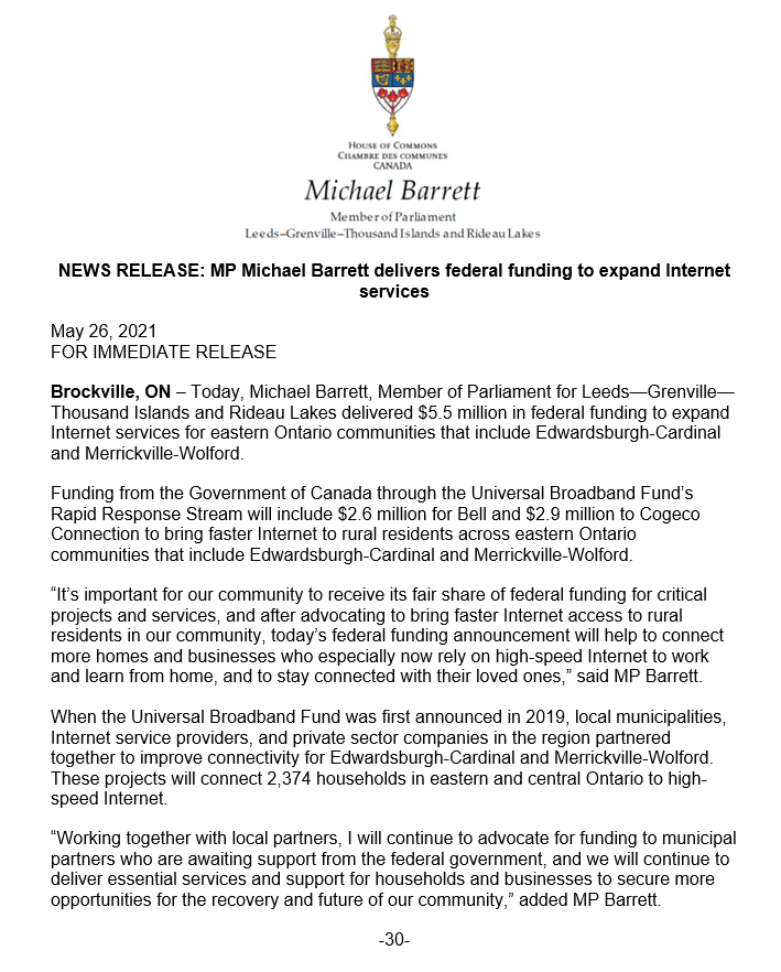 MP Michael Barrett delivers federal funding to expand Internet services