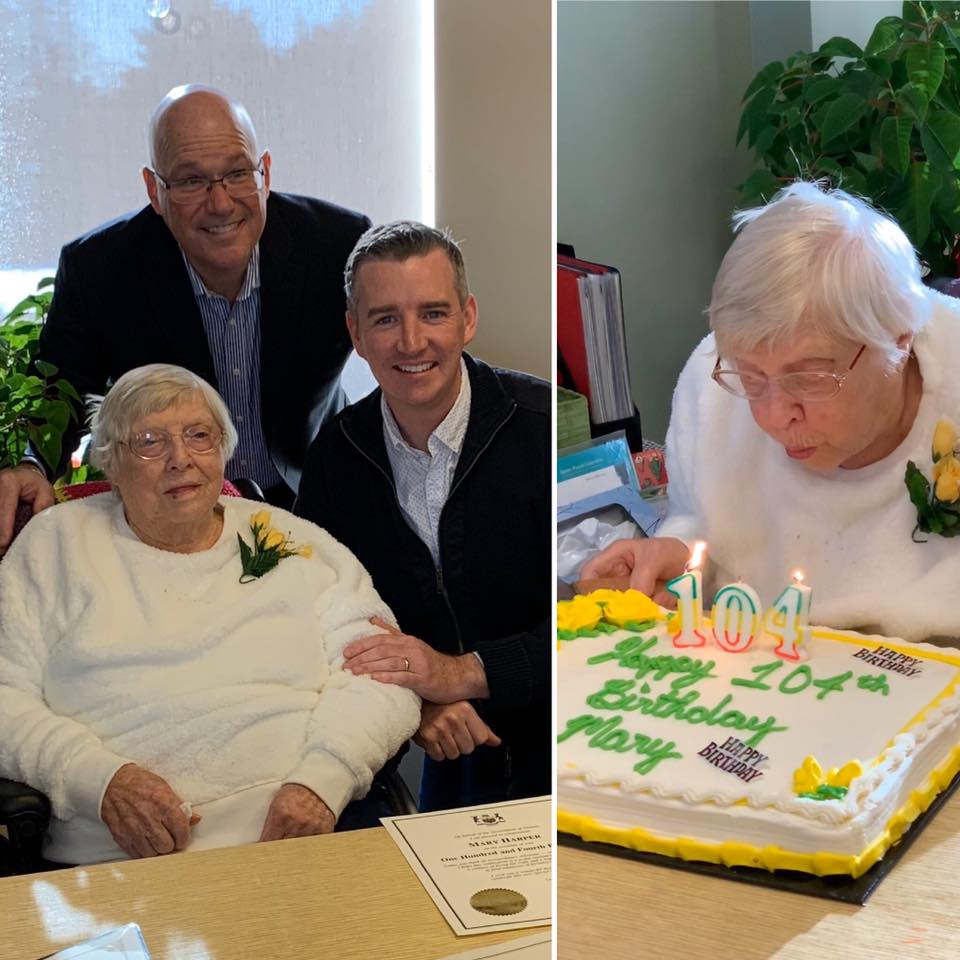 Congratulating Mary Harper on her 104th Birthday - 11/16/2019