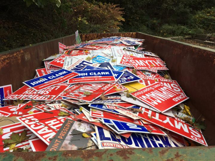 2017 Town of Huntington Democrat Corruption: Dumpster Filled ONLY with Republican Lawn Signs