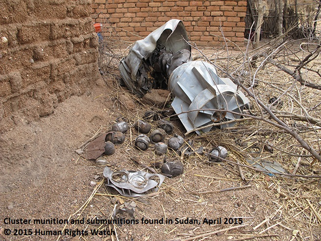 Cluster munition and submunitions found in Sudan, April 2015 © 2015 Human Rights Watch