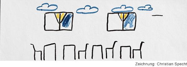 Zeichnung von einem Klassenzimmer ohne Schüler