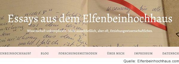 Screenshot des Blogs, Bild eines Notizbuchs.