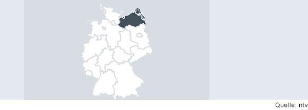 Deutschlandkarte mit Grenzen der Bundesländer.  Mecklenburg-Vorpommern ist grau eingefärbt.