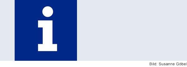 "weißes ""i "" auf blauem Quadrat"