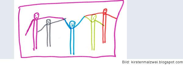 Fünf bunte lachende Strichmännchen stehen nebeneinander und halten  sich an den Händen.