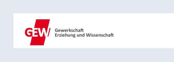 Logo der GEW.  Daneben steht in grauer Schrift: Gewerkschaft Erziehung und Wissenschaft.