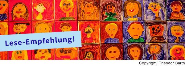 Viele quadratische Kacheln hängen über- und nebeneinander. Auf jede Kachel wurde ein Portrait von einem Kind gemalt. Es ist ein Ausschnitt von noch viel mehr Kacheln mit Portraits.
