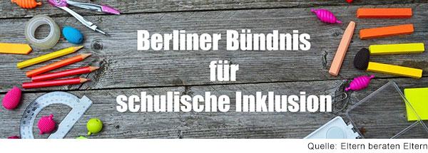 Foto von Holztisch mit vielen Stiften von oben fotografiert. Weiße Schrift: Berliner Bündnis für schulische Inklusion