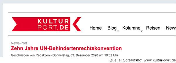 """Screenshot vom Kopf der kultur-report Website mit Logo und Headline """"Zehn Jahre UN-Behindertenrechtskonvention"""""""