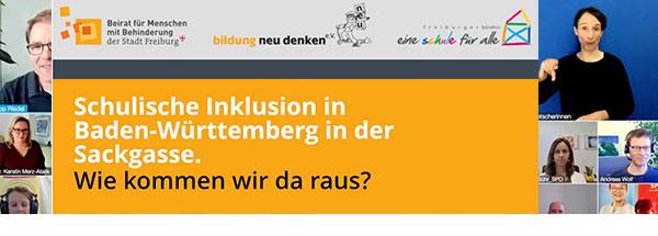 """Schriftzug """"Schulische Inklusion in Baden-Württemberg in der Sackgasse."""" Wie kommen wir da raus?"""