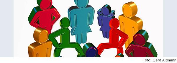 Illustrierte stilisierte Menschen. Erwachsene und Kinder mit und ohne Rollstuhl.