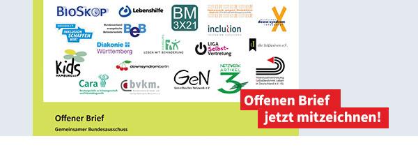 Bild des Briefkopfs mit Logos von allen Erstzeichnern und Aufforderung: Offenen Brief jetzt mitzeichnen!