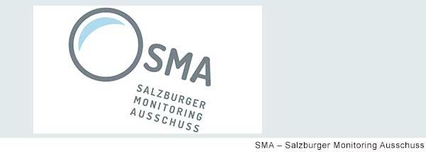 Logo SMA: Stilisierte Lupe ohne Griff, daneben stehen in grauer moderner Schrift die Buchstaben SMA. Unter den Buchstaben steht in drei Zeilen Salzburger Monitoring Ausschuss.
