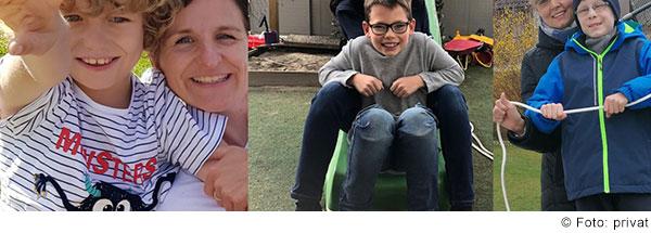 Drei Bilder von lachenden Kindern mit Behinderung und einem Elternteil.