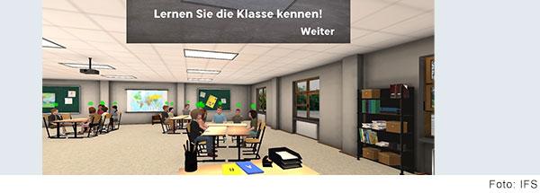 Bildschirmfoto von einer Anwendung. Auf einem computergenerierten Bild von einem Klassenzimmer liegt ein grauer Kasten mit dem Schriftzug Lernen Sie die Klasse kennen! Darunter steht ein Weiter-Button