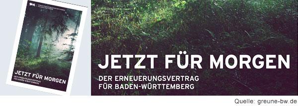Cover einer Broschüre. In weißer Schrift steht auf einem Bild von einem Wald: Jetzt für morgen. Der Erneuerungsvertrag für Baden Württemberg.