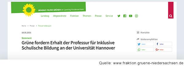 Bildschirmfoto der Webseite von Bündnis 90/Die Grünen im Landtag Niedersachsen mit der Headline: Grüne fordern Erhalt der Professur für Inklusive Schulische Bildung an der Universität Hannover