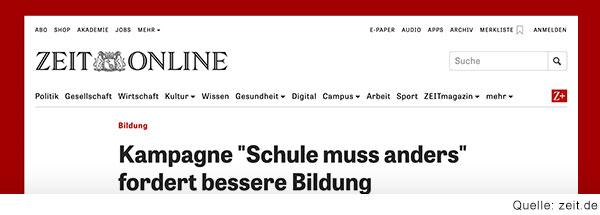 Bildschirmfoto von der Webseite der Zeit mit der Headline: Kampagne \