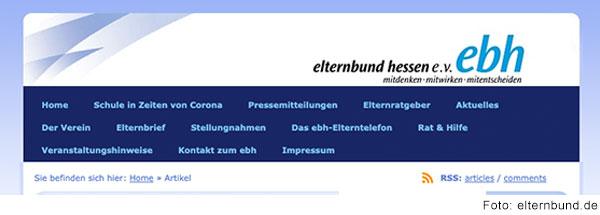 Screenshot der Startseite von elternbund.de