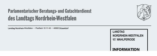 Bild vom Kopf eines Dokuments mit der Aufschrift: Parlamentarischer Beratungs- und Gutachterdienst des Landtags Nordrhein-Westfalen