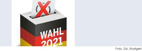 schwarz-rot-goldene Wahlurne mit Aufschrift Wahl 2021
