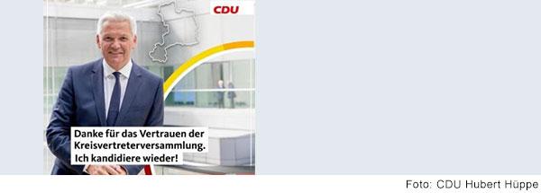 Plakat von Hubert Hüppe mit Dank für die Wahl