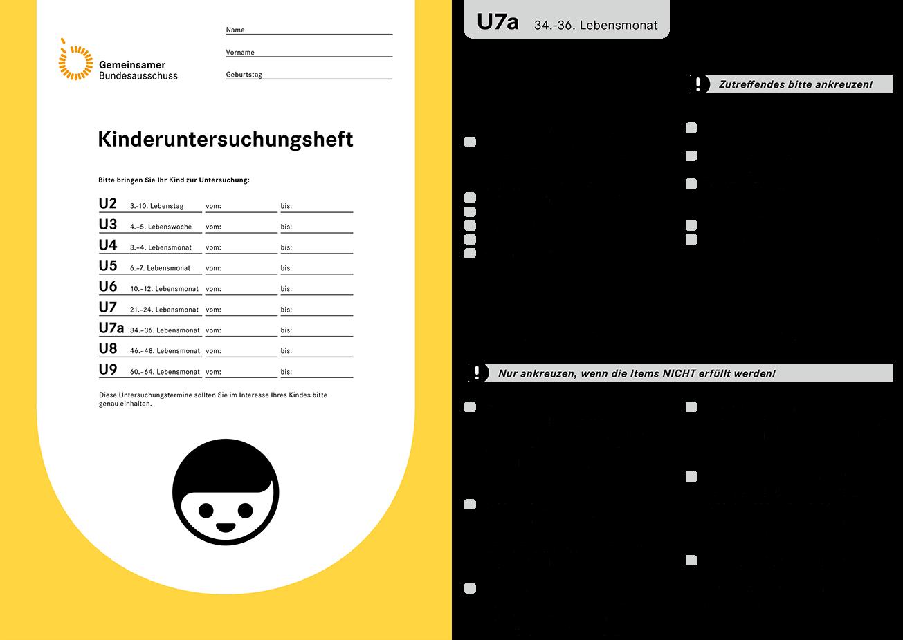 Titelseite und Abschnitt U7a des Kinderuntersuchungshefts